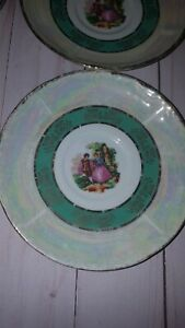 Vintage Iridescent set of 4  Saucers Courting Couple  marked Y and S  G