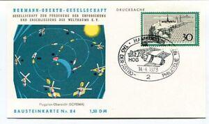 1973 Hermann Oberth Gesellschaft Weltraums Hamburg Drucksache Bausteinkarte Nr84