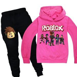 Boys Girls Kids Roblox Cotton Hooded Long Sleeve Shirts 5, Pink
