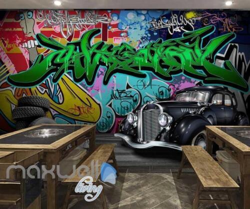 3D Graffiti Vintage Car Abstract Street Wall Murals Wallpaper Decals Print Decor