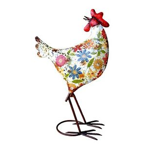 Audrey henburn painted metal chicken garden ornament for Quirky ornaments