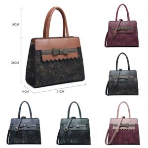 Handbag Designer Glitter marrone scuro Faux Nero rosa Print Womens Fashion Bow blu vino Leopard verde Ladies UqfXWw8E