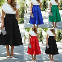 New Women Ladies Vintage High Waist Plain Skater Flared Pleated Long Skirt Dress