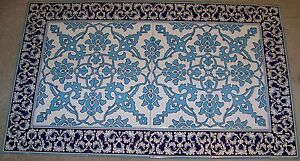 "Turkish Blue & White 40""x24"" (100cmx60cm) Iznik Pattern Ceramic Tile Panel Mural"
