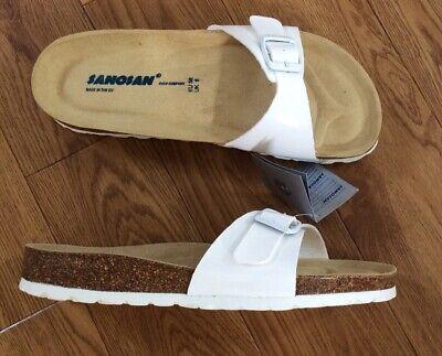 Sanosan Malaga White Womens Leather Sandals Shoes