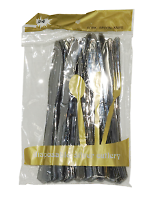 AEX Metallic Disposable plastic Knives 24pc Plastic Cutlery Party Tableware Set