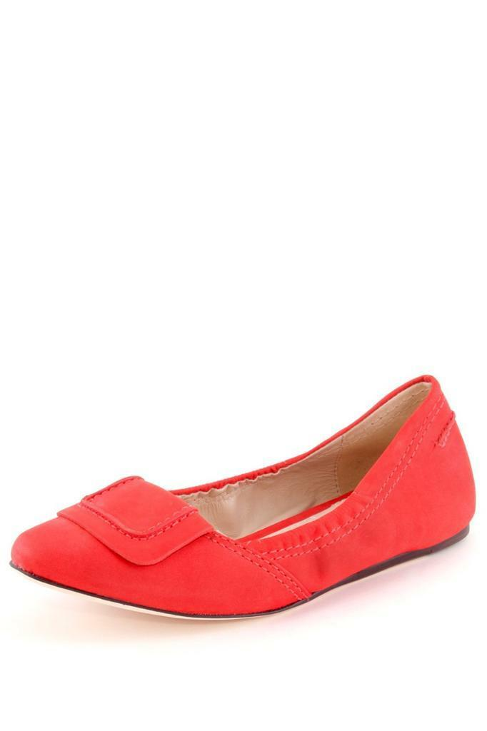 Elizabeth and James Kimi Ballet Flat Coral Nubuck pointed toe buckle square NEW