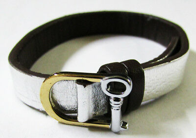 Keep Collective Wide Cuff Leather Band Black//Saddle Color Genuine Leather New