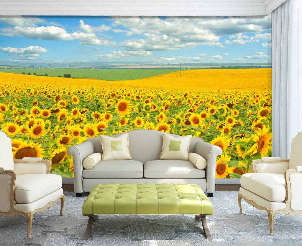 3D Sonnenblumenfeld 7 Fototapeten Wandbild Fototapete Bild Tapete Familie Kinder