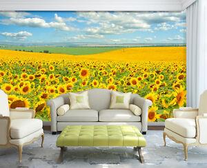 3D-Sonnenblumenfeld-7-Fototapeten-Wandbild-Fototapete-Bild-Tapete-Familie-Kinder
