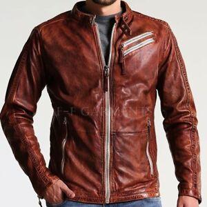 BNWT Men/'s Biker Motorcycle Brown Real Leather Jacket