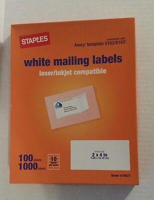 White Mailing Labels Laser Inkjet Compatibles 2 X 4 450 Labels 45sheets 718103009614 Ebay