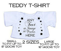 Personalised Teddy Bear T-shirt Any Text Photo Logo Fit 8-18 Soft Toy Mum Gift