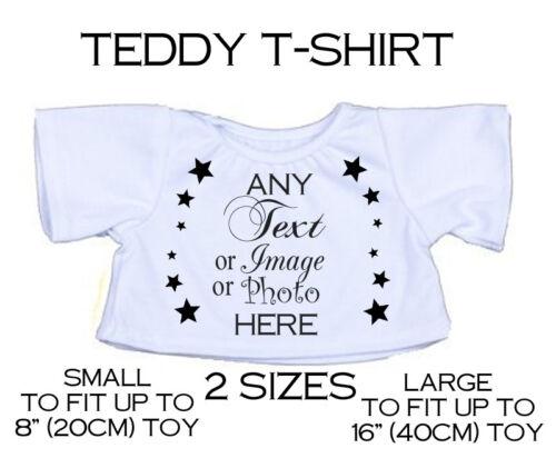 Personalisiert Teddybär T-Shirt Jeder Text Photo für 20.3cm-45.7cm Stofftier