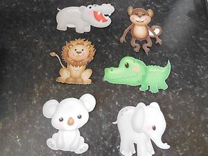 x6-Card-toppers-Animal-hippo-monkey-crocodile-lion-elephant-koala-bear-die-cut