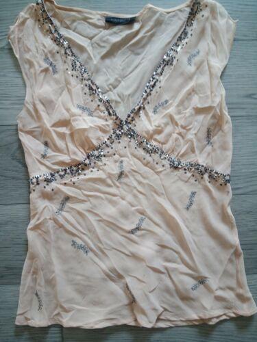 Vintage Y2k Silk Sequin Embroidered Sheer Top Smal