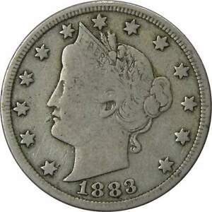 1883-With-Cents-Liberty-Head-V-Nickel-5-Cent-Piece-VG-Very-Good-5c-US-Coin