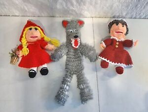 Crochet Story Book Hand Puppets Little Red Riding Hood Grandma Wolf Judy Bolin