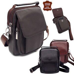 25d22877b6 Petite sacoche à bandoulière Homme sac Cuir de vachette Véritable | eBay