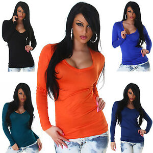 Langarmshirt-einfarbig-Shirt-Damen-Basic-Pullover-NEU-Einheitsgroesse-34-36-38-40