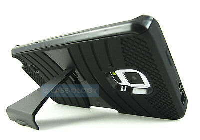 FULL BLACK EXO STRETCH RUGGED DUAL LAYER CASE COVER SAMSUNG GALAXY NOTE EDGE