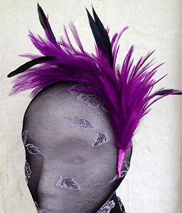 purple feather headband fascinator hair band wedding bridal race party ascot
