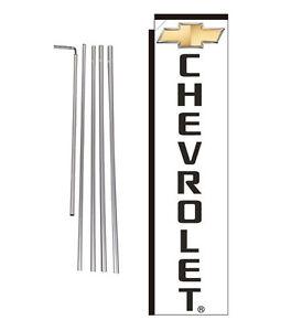 Chevrolet Dealership 15' Advertising Rectangle Banner Flag Kit with pole+spike