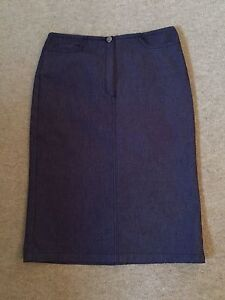 JOSEPH-indigo-blue-denim-stretchy-pencil-skirt-UK-10-New-without-tags-245