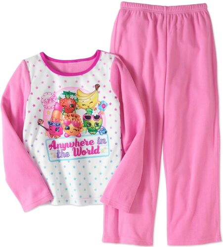 Shopkins Girls Pink 2 pc Flannel Sleepwear Pajamas 10//12 Anywhere in the World