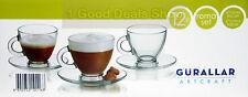 12pc Set di vetro chiaro VETRERIA Espresso caffè tè tazze piattini Expresso 95ml