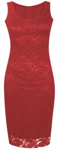 Neue Damen Sleeveless Blumenspitze Langfigurbetontes Midikleid Spitze 36-50