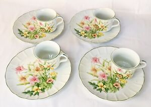 Vintage-Jade-Lily-Shafford-Fine-Porcelain-China-Set-Of-4-Plates-amp-Cups-NEW
