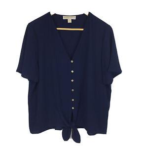 Michael-Kors-Shirt-Womens-Sz-L-Large-Navy-V-Neck-Tie-Front-Short-Sleeve-XX2