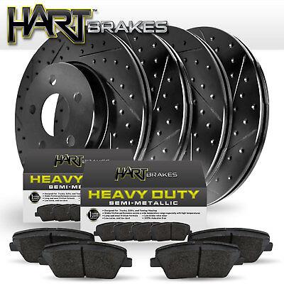 BLACK HART DRILLED SLOTTED  BRAKE ROTORS Ford EDGE 2007-2008 2WD FULL KIT