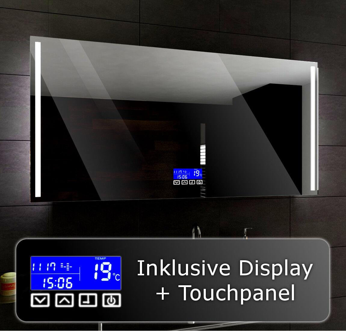 Lumineux DEL Miroir de salle de bain pour mesurer Paris + LCD Touch Control Panel
