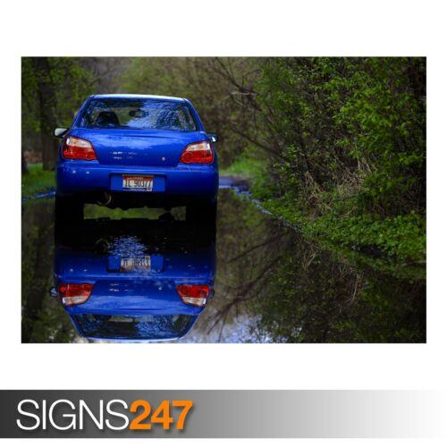 CAR POSTER AB445 BLUE SUBARU REFLECTION Photo Poster Print Art * All Sizes