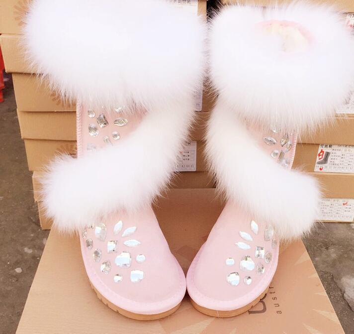 Vogue Womens Rhinestone Furry Fur Warm Winter Kneeboot Snow Boots Shoes Solid SZ