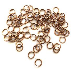 100 Antique Copper Plated  20 GA Open jump rings 8mm-Beading Supplies Findings