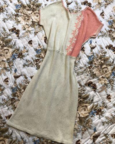 Vintage 1930s 40s Cotton Knit Dress Two Tone Cream