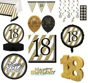 Image is loading BLACK-amp-GOLD-Age-18-Happy-18th-Birthday-