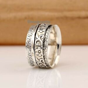 Solid-925-Sterling-Silver-Spinner-Ring-Meditation-Ring-Statement-Ring-Size-RA61