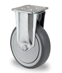 Bockrolle-Gummi-grau-spurlos-125-mm-Kugellager-Lenkrolle-Platte-Anschraubplatte