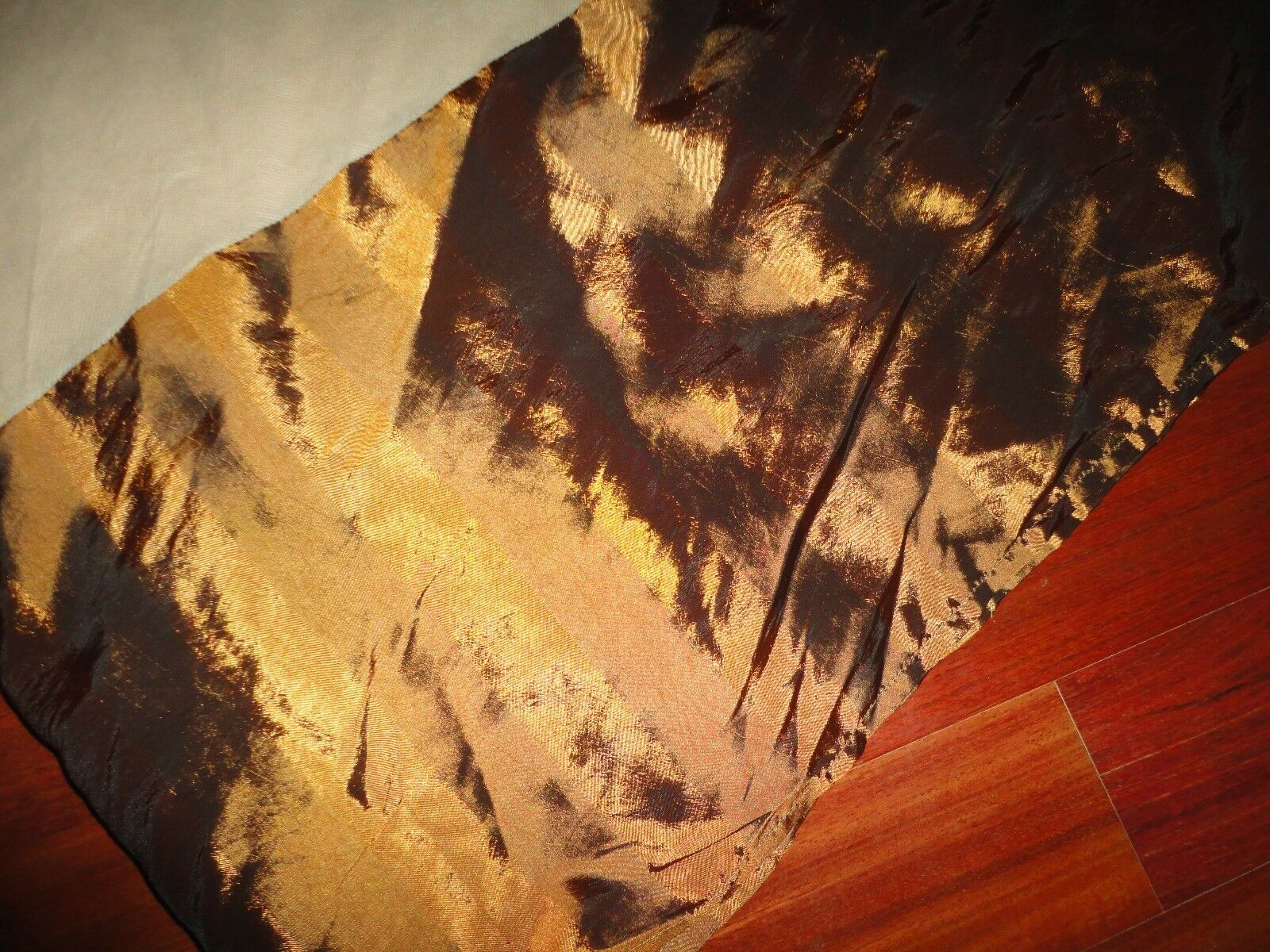 WELCOME INDUSTRIAL CORP COPPER BROWN DAMASK DOBBY STRIPE KING BEDSKIRT 13
