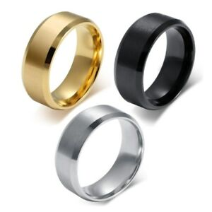 8mm-Stainless-Steel-Ring-Womens-Men-039-s-Band-Silver-Gold-Black-Rose-Gold-Size-5-15