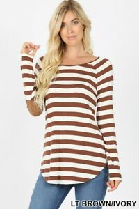 Brown-Striped-Long-Sleeve-Boat-Neck-Elbow-Patch-Tee-Shirt-Top-Blouse-Small-3x