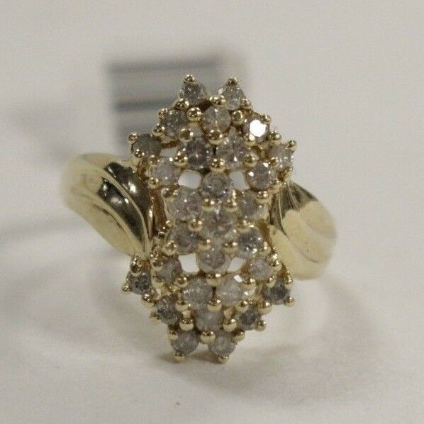 (MA2) Ladies' 0.58 TCW Diamond Cluster 14k 5.2g Yellow gold Ring Size 7