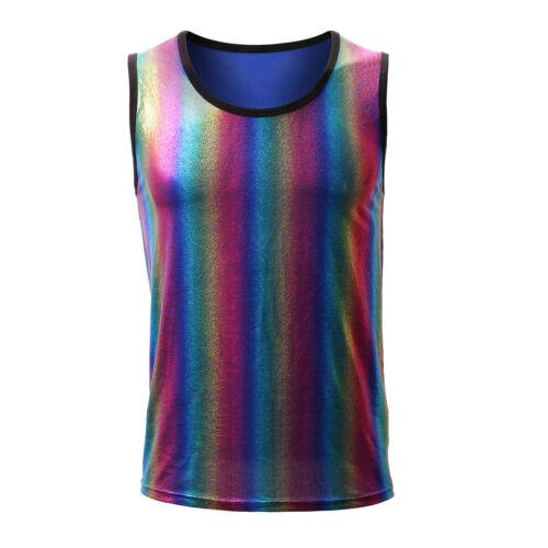 Men/'s Tanks Top Rainbow Stripe Bodybuilding Tops Gym Muscle Streetwear Clubwear