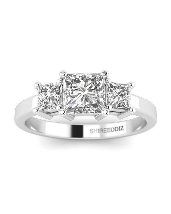 1 CT Natural Diamond Engagement Ring Princess Cut F VS2 14K White gold Enhanced