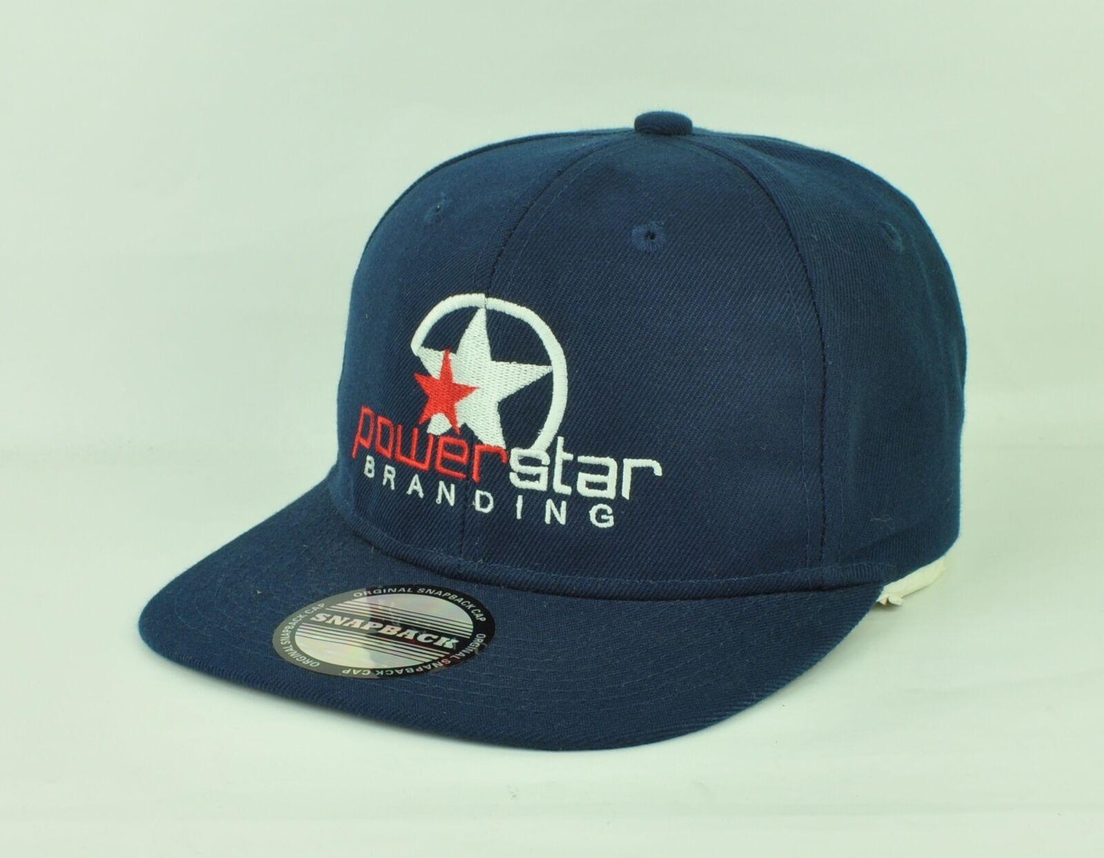 Power Star Branding Logo PBS Flat Bill Adjustable Snapback Hat Hat Snapback Cap Navy Blue ee0431