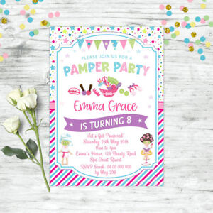 PAMPER-SPA-PARTY-INVITATIONS-BIRTHDAY-INVITE-PARTY-SUPPLIES-GIRLS-BEAUTY-FACIAL
